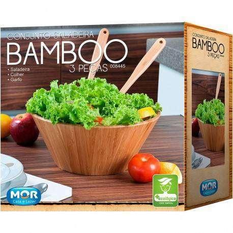 Conjunto Saladeira de Bambu